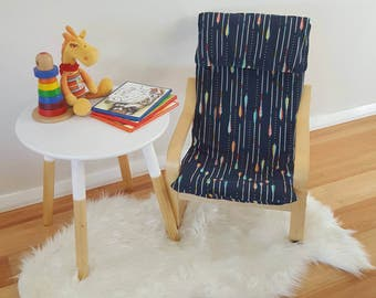 Children's ikea chair coverslip/poang cover/kids cover/feathers seat/kids decor/boho bedroom/arrows decor/navy/coral