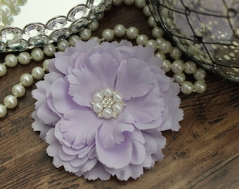 """4 1/2"""" LAVENDER Fabric Peony Flowers Layered with Crystal Pearl Center - Elegant - Beautiful - Hair Accessories - Wedding - TheFabFind"""