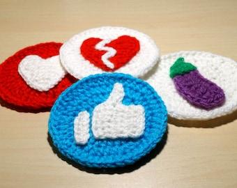 Emoji Crochet Pattern PDF, Like Emoji, Broken Heart Emoji, Eggplant Emoji, Love Emoji, Crochet Patch, Facebook Stickers, Crochet Patch PDF