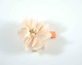 Peach Flower Clip. Chiffon Flower Clip. Flower Hair Clip. Easter Bow. Toddler Barrette. Baby Barrette. Flower Barrette. Peach Toddler Clip