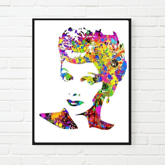 I Love Lucy Watercolor Art Poster Lucille Ball Homerhetsy: I Love Lucy Home Decor At Home Improvement Advice