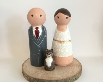Family Wedding Cake Toppers - Bride, Groom & Pet Cake Toppers - Personalised Wedding Cake Toppers - Peg Doll Cake Toppers