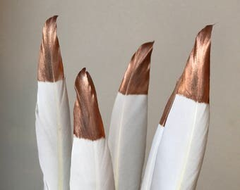 """Hand Painted Rose Gold Tipped White Goose Feathers 4-6"""" Long - Great for weddings, crafts, jewellery + dream catcher making! Natural Copper"""