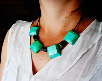 Necklace, Square Paper Beads