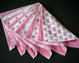 Family Cloth - Reusable Wipes - Eco Friendly - Butterfly Design - Set of 6 - Cotton Flannel