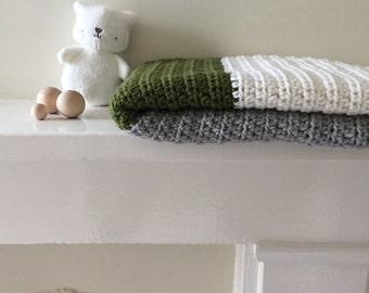 Emerald mix 'yoka' merino wool baby blanket (afghan) large