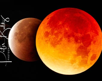 Red Moon Trilogy A4 Mounted Print
