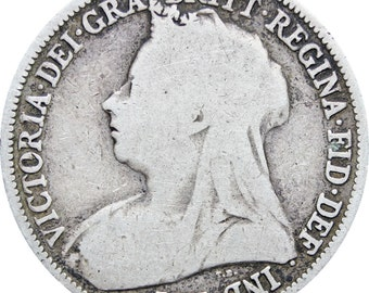 1893 Great Britain Queen Victoria Shilling Silver Coin