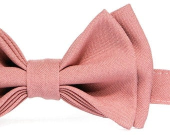 Dusty Rose Bow Tie & Dusty Rose Pocket Square for Baby Toddler Boy Men