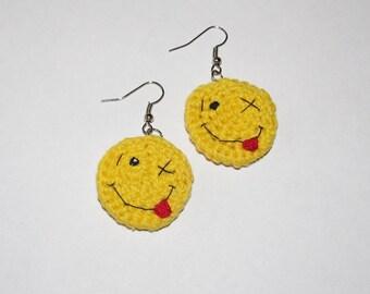 EMOJI earrings - Smile earrings  beautiful Crochet earrings Emoji jewelry cute earrings for girls unique earrings for women gift ideas (CE-7