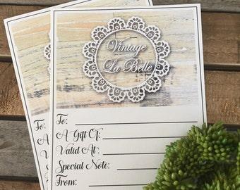 Gift Vouchers for Vintage La Belle Rustic wedding fans !