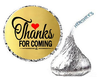 Thanks for Coming Gold Heart Party Favor Hershey Kisses Candy Stickers / Labels -216ct