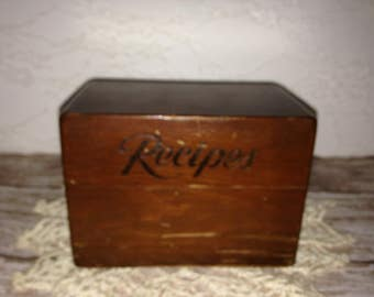 Vintage Recipe Box, Wood Recipe Box, Antique Wood Recipe Box, Vintage Wood Recipe Box, Recipe Box