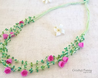 Crochet multi strand flower necklace Beaded crochet necklace with polymer roses