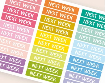 Next week Heading stickers, planner header stickers, planner stickers, agenda notebook journal stickers, reminder