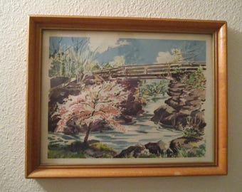 Framed Vintage Print Bridge over river and trees scene