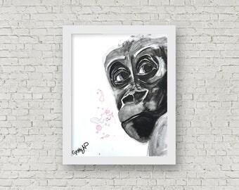 ORIGINAL - Gorilla / Monkey, Watercolor, 11x15 inches