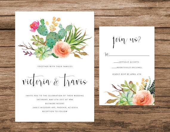Wedding Invitations Az: Cactus And Succulent Invitation Desert By AlexaNelsonPrints