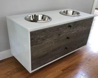 Winston Raised Dog Feeder/ Mid Century Modern Dog Feeder / Custom Dog Bowl Holder