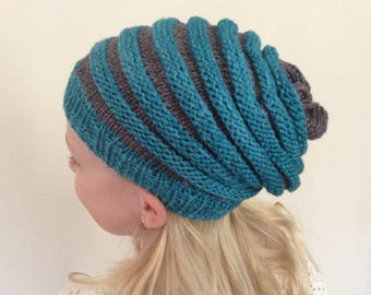 Striped knit slouch hat