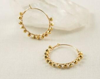 Pyrite Hoop Earrings - Pyrite Earrings - Gold Pyrite Earrings - Pyrite Jewelry - Gold Hoop Earrings - Gold Gemstone Earrings - Gold Pyrite