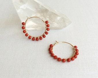 Red Coral Hoop Earrings - Red Coral Earrings - Coral Earrings - Coral Jewelry - Red Coral Jewelry - Hoop Earrings with beads - Hoop Earrings