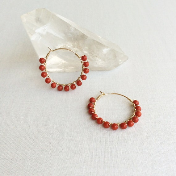 Red Coral Hoop Earrings Red Coral Earrings Coral Earrings