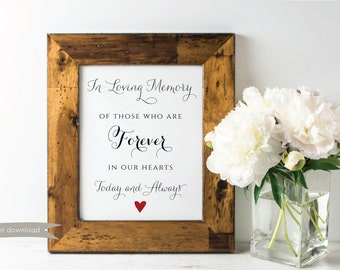 In Loving Memory Printable Sign, Forever in our Hearts Sign, Memory Sign, Memorial Sign, In Memory, Wedding Sign, Printable Sign, DIY, 8x10