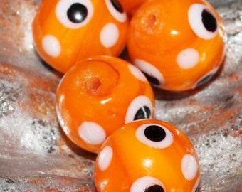 On Sale Set of (8) 13mm Orange Colored Glass Beads with White and Black Polka-Dots #11 Halloweem