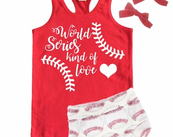 World Series Kind Of Love Tank Top -- Toddler Girls Baseball Top -- Spring/Summer Red & White Baseball Tee - Toddlers, Kids Trendy Shirts