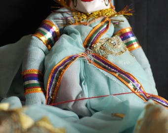 Rajasthani Puppet/Doll (blue / lady)