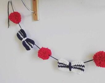 """Garland """"Nodes sailors"""", nodes crocheted butterflies and PomPoms"""