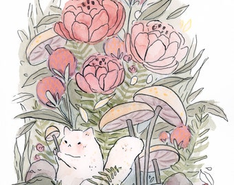Fluff Cat Forest -- Art Print