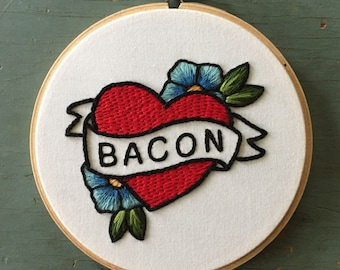Bacon Tattoo Embroidery - American Traditional Heart and Flowers - 5in Hoop