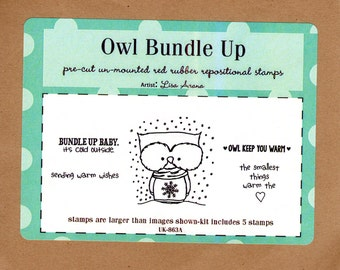 Owl Bundle Up by Unity Stamps 5 red rubber art stamps - artist Lisa Arana - make cards, cute wrapping paper and art around your home! NIP!