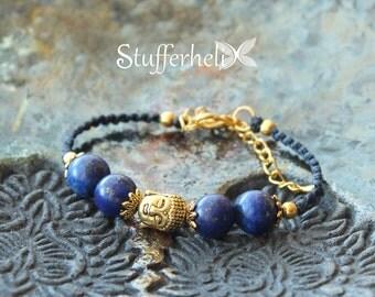 Lapis lazuli bracelet, lapis lazuli jewelry, Buddha bracelet, yoga strap, macrame bracelet, macrame jewelry, dark blue, golden