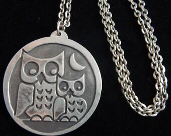 Jorgen Jensen Pewter Owl Necklace