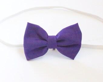 Bright Purple Cotton Baby Toddler Girl Hair Bow- headband on elastic bow hair clip