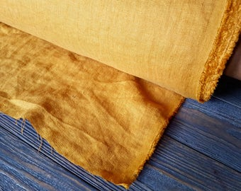 Yellow linen fabric by the meter, softened natural linen yellow fabric, washed stonewashed bright yellow linen fabric by the yard 7oz