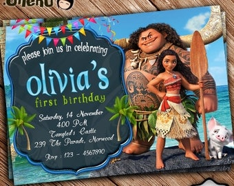 SALE 50% OFF Moana Birthday Invitation Printable - Moana Birthday Invitation Theme - Moana Invitation for Girls and Boys - Moana Celebration