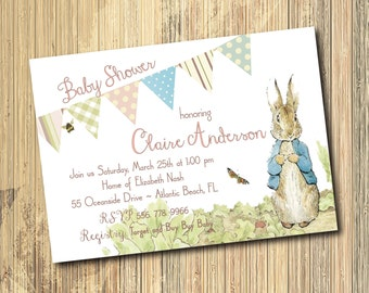 Peter Rabbit Baby Shower Invitation. Peter Rabbit girl shower. Beatrix Potter. Vintage/DIGITAL FILE/printable/wording can be changed