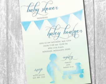 Baby Boy Shower Invitation printable/Digital File/watercolor, blue and green, ombre, classic, simple, wagon, baby boy/Wording can be changed