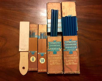 Vintage Eagle Chemi-Sealed Turquoise  Drawing Pencils and Drawing Leads
