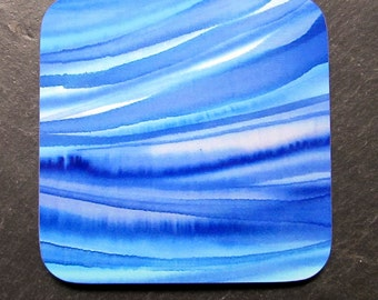 Set of 4 Blue Waves Coasters, from an original silk painting.