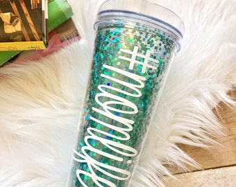 Personalized Turquoise Confetti Glitter Tumbler, Teal Glitter Cup, Glitter Dipped, Loose Glitter, Personalized Tumbler, Monogrammed, Beach