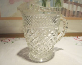 Wexford Glass Pitcher Vintage 1960's Anchor Hocking Pressed Glass Small Mid Century Drinkware Dining Serving Collectible Glass - Kit0559