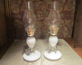 Milk Glass Hobnail Lamp Pair Vintage 1950's Electric Home Decor Lighting Table Lamp Collectible - HD0216