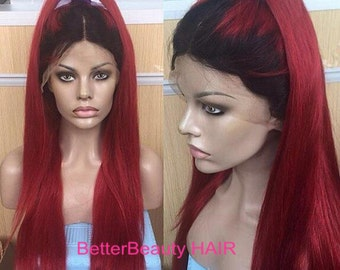 ombre black roots burg human  hair straight front lace&full lace wigs glueless natural hairline human hair wigs ombre wigs lace wigs