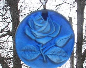Cobalt Blue Rose Up-Cycled Glass Bottle Bottom Sun Catcher Ornament