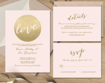 Blush and Gold Wedding Invitation Set / Metallic Gold and Blush / Faux Gold / Wedding Invite Set ▷Printed Wedding Invitations {or} Printable